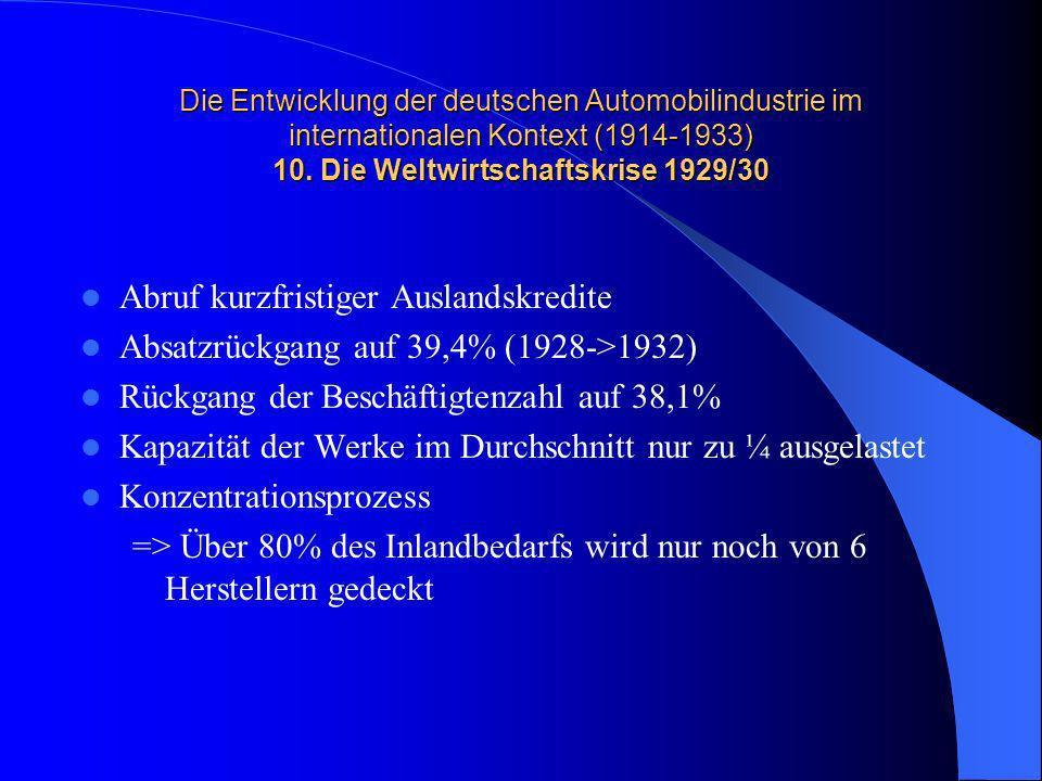 Die Entwicklung der deutschen Automobilindustrie im internationalen Kontext (1914-1933) 10. Die Weltwirtschaftskrise 1929/30 Abruf kurzfristiger Ausla