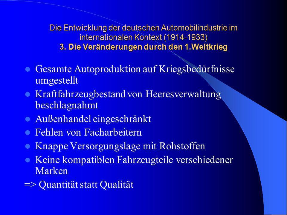 Die Entwicklung der deutschen Automobilindustrie im internationalen Kontext (1914-1933) 3. Die Veränderungen durch den 1.Weltkrieg Gesamte Autoprodukt