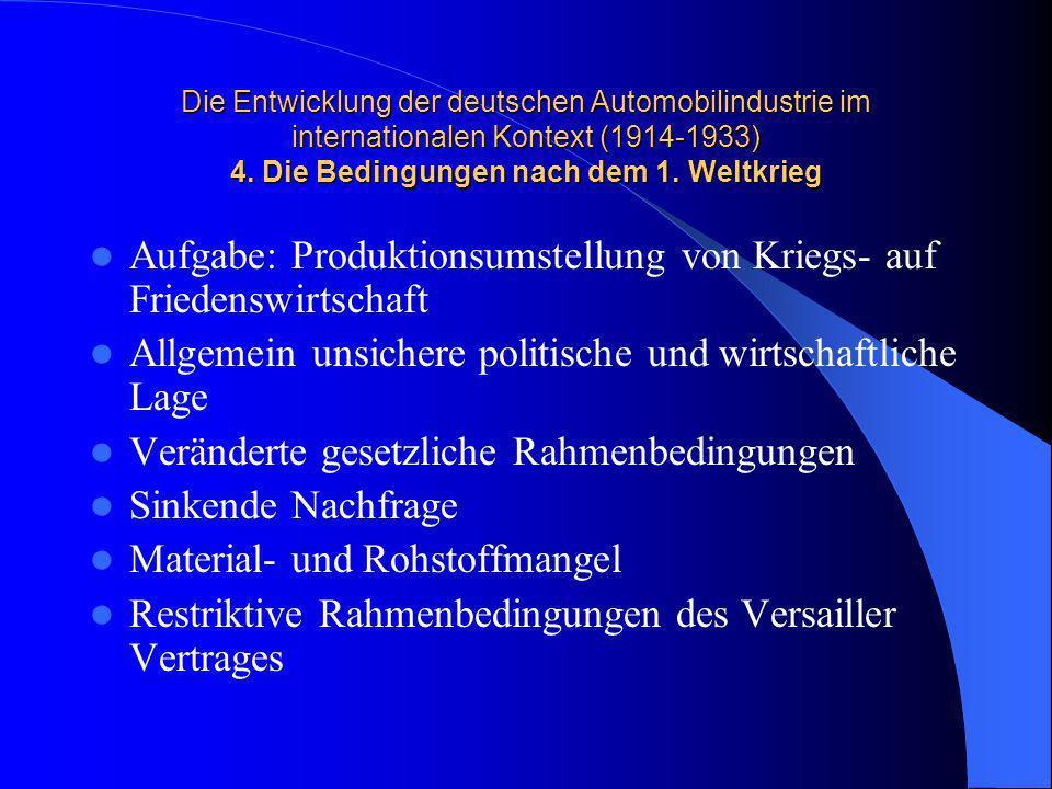 Die Entwicklung der deutschen Automobilindustrie im internationalen Kontext (1914-1933) 4. Die Bedingungen nach dem 1. Weltkrieg Aufgabe: Produktionsu