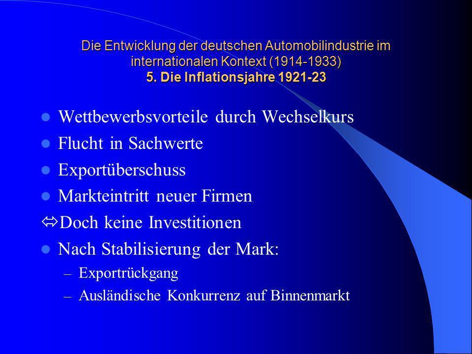 Die Entwicklung der deutschen Automobilindustrie im internationalen Kontext (1914-1933) 5. Die Inflationsjahre 1921-23 Wettbewerbsvorteile durch Wechs