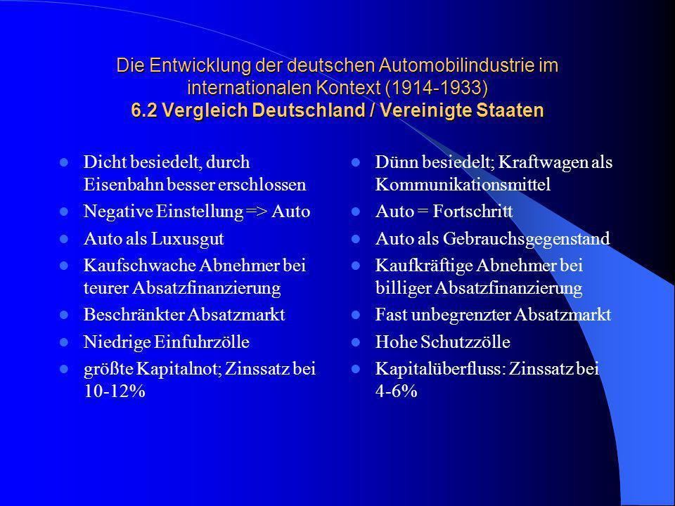 Die Entwicklung der deutschen Automobilindustrie im internationalen Kontext (1914-1933) 6.2 Vergleich Deutschland / Vereinigte Staaten Dicht besiedelt