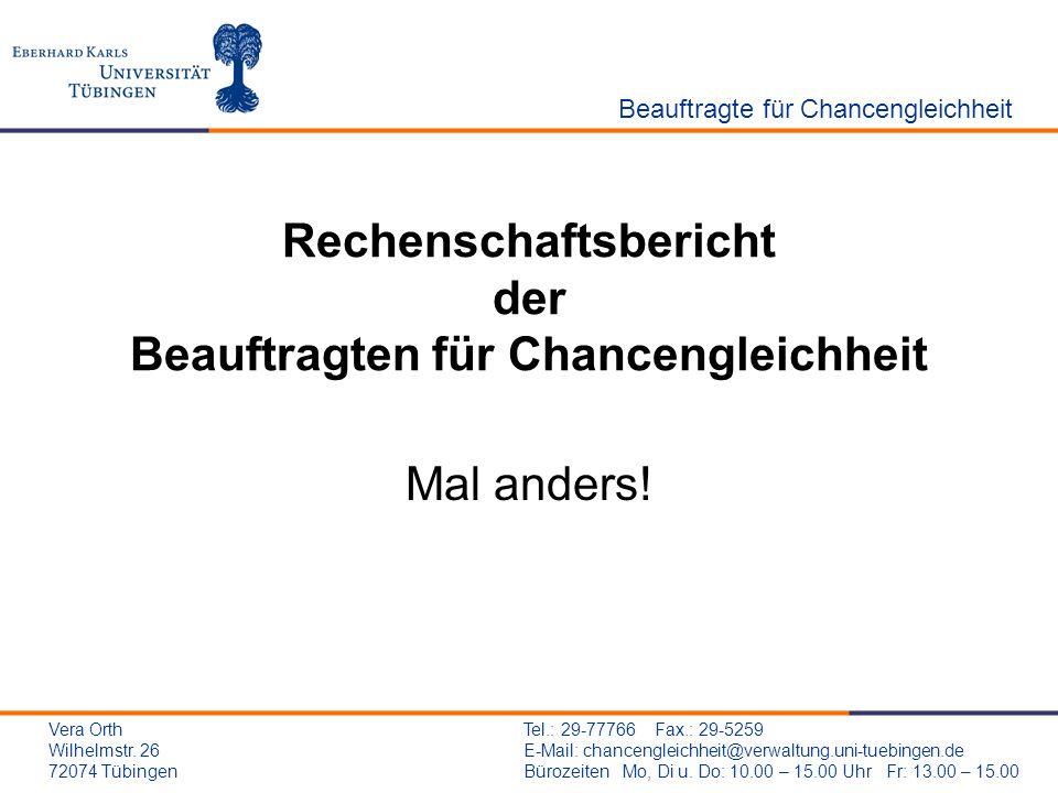 Rechenschaftsbericht der Beauftragten für Chancengleichheit Mal anders! Beauftragte für Chancengleichheit Tel.: 29-77766 Fax.: 29-5259 E-Mail: chancen