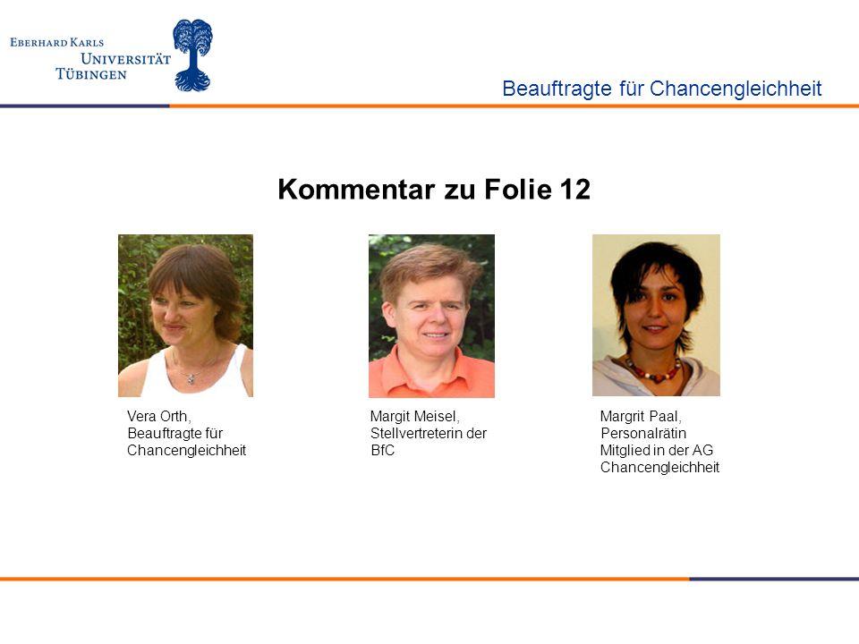 Kommentar zu Folie 12 Beauftragte für Chancengleichheit Vera Orth, Beauftragte für Chancengleichheit Margit Meisel, Stellvertreterin der BfC Margrit P