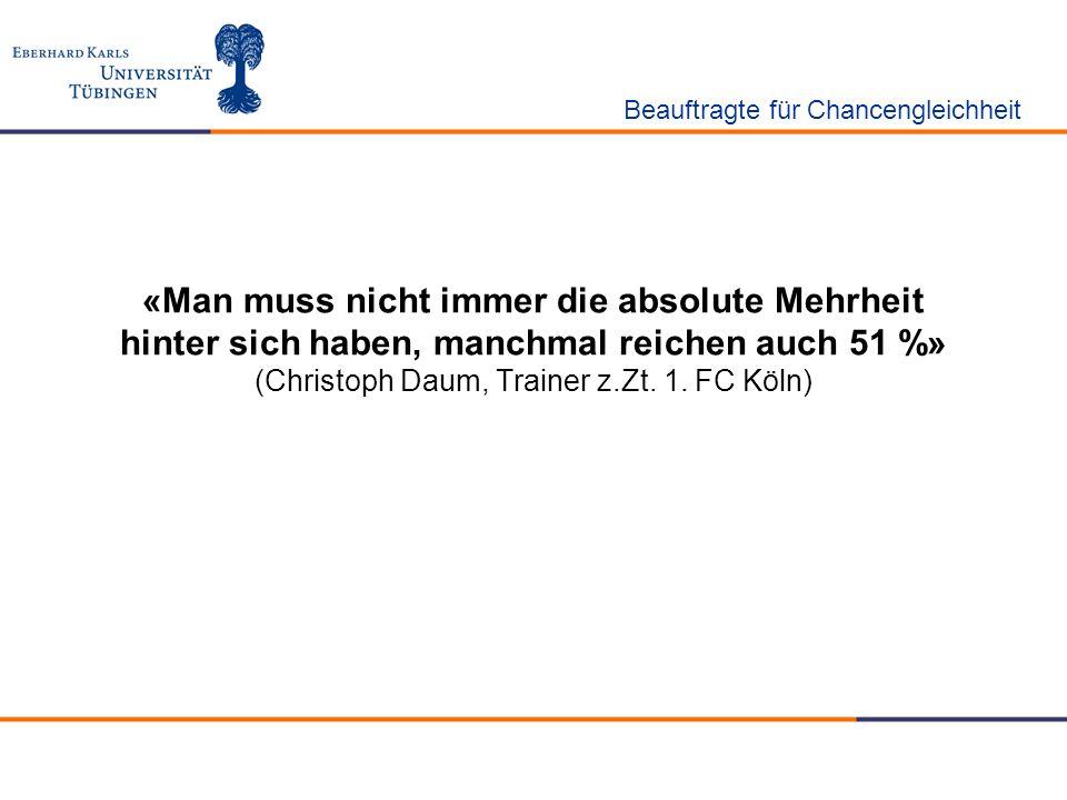 «Man muss nicht immer die absolute Mehrheit hinter sich haben, manchmal reichen auch 51 %» (Christoph Daum, Trainer z.Zt. 1. FC Köln) Beauftragte für