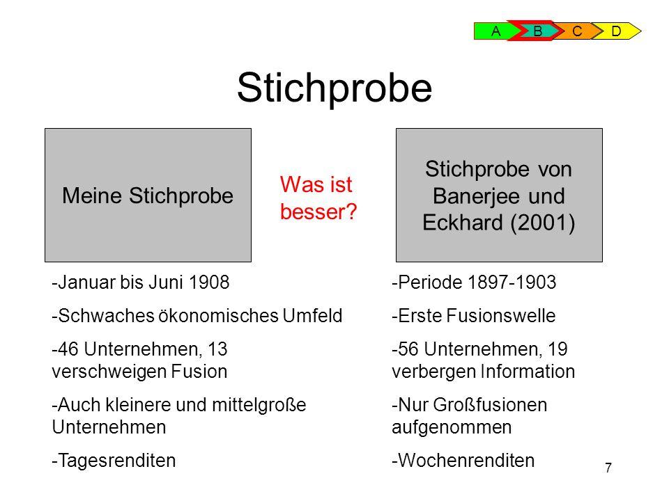 7 Stichprobe A B CD Meine Stichprobe Stichprobe von Banerjee und Eckhard (2001) -Periode 1897-1903 -Erste Fusionswelle -56 Unternehmen, 19 verbergen I
