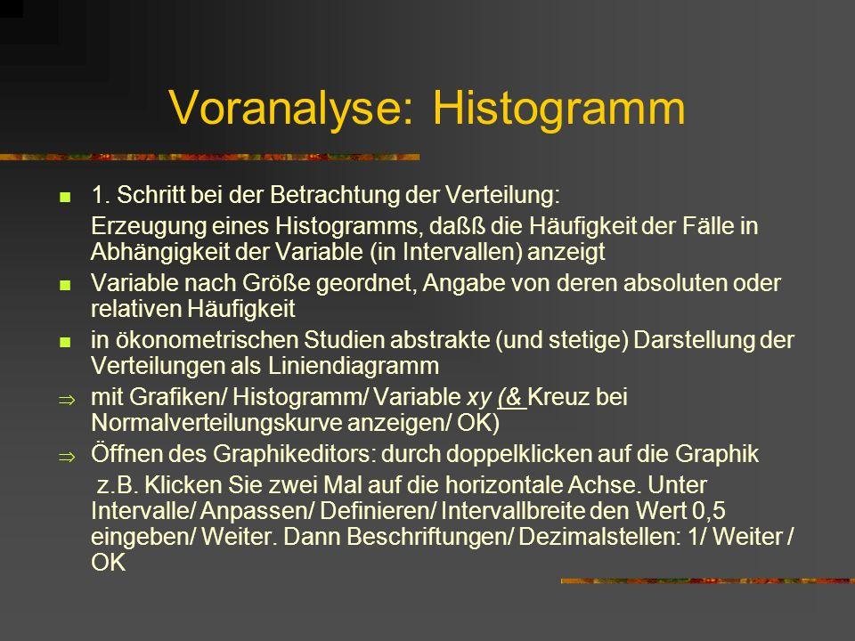 Voranalyse: Histogramm 1. Schritt bei der Betrachtung der Verteilung: Erzeugung eines Histogramms, daßß die Häufigkeit der Fälle in Abhängigkeit der V