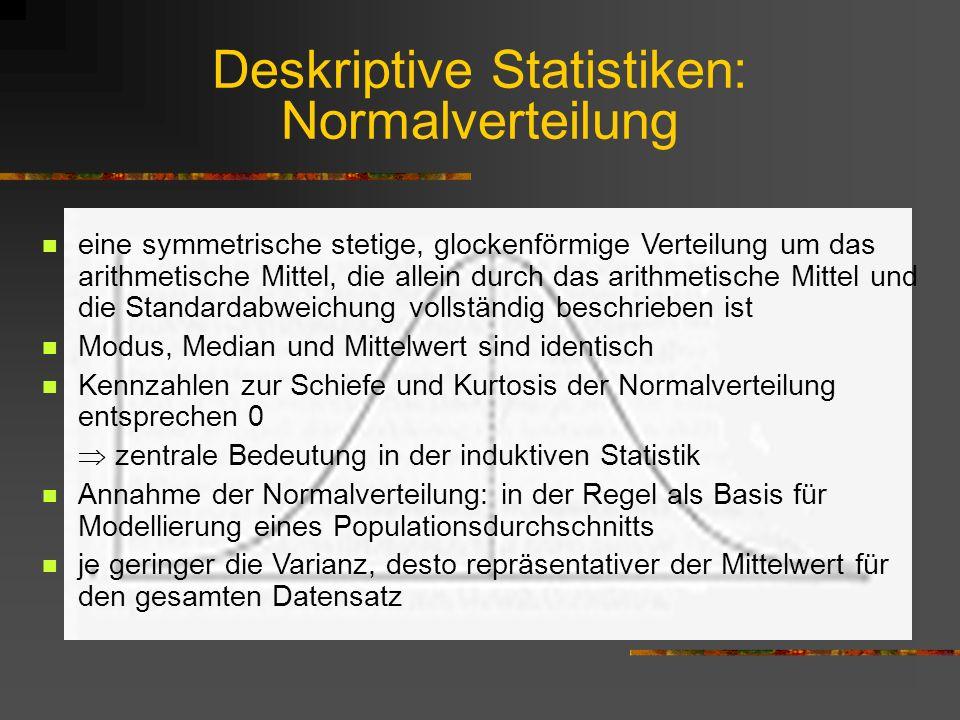 Deskriptive Statistiken: Normalverteilung eine symmetrische stetige, glockenförmige Verteilung um das arithmetische Mittel, die allein durch das arith