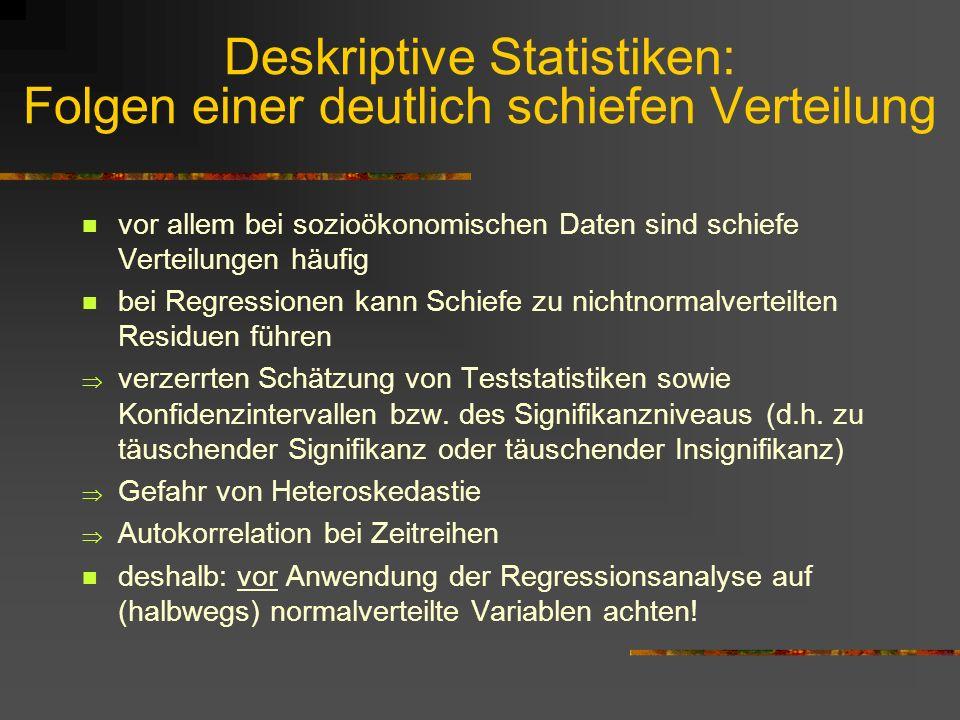 Deskriptive Statistiken: Folgen einer deutlich schiefen Verteilung vor allem bei sozioökonomischen Daten sind schiefe Verteilungen häufig bei Regressi