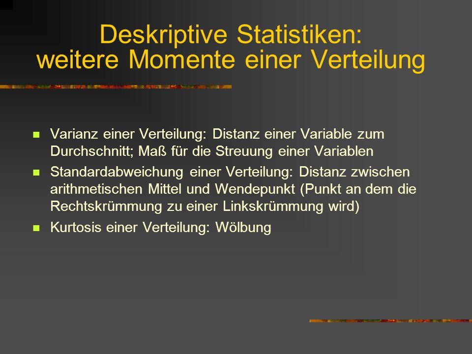 Deskriptive Statistiken: weitere Momente einer Verteilung Varianz einer Verteilung: Distanz einer Variable zum Durchschnitt; Maß für die Streuung eine