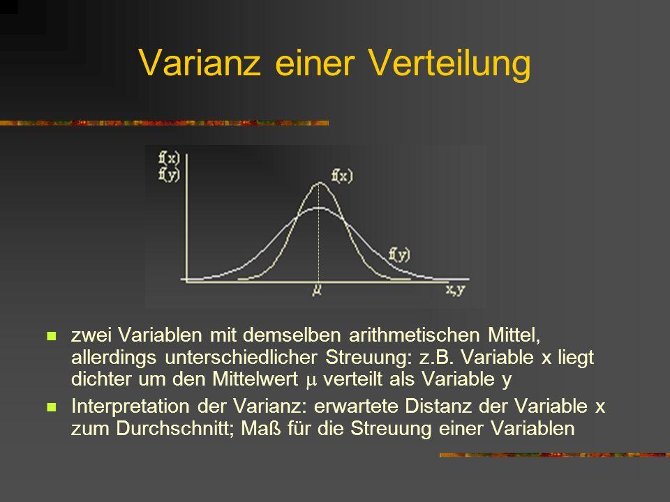 Varianz einer Verteilung zwei Variablen mit demselben arithmetischen Mittel, allerdings unterschiedlicher Streuung: z.B. Variable x liegt dichter um d