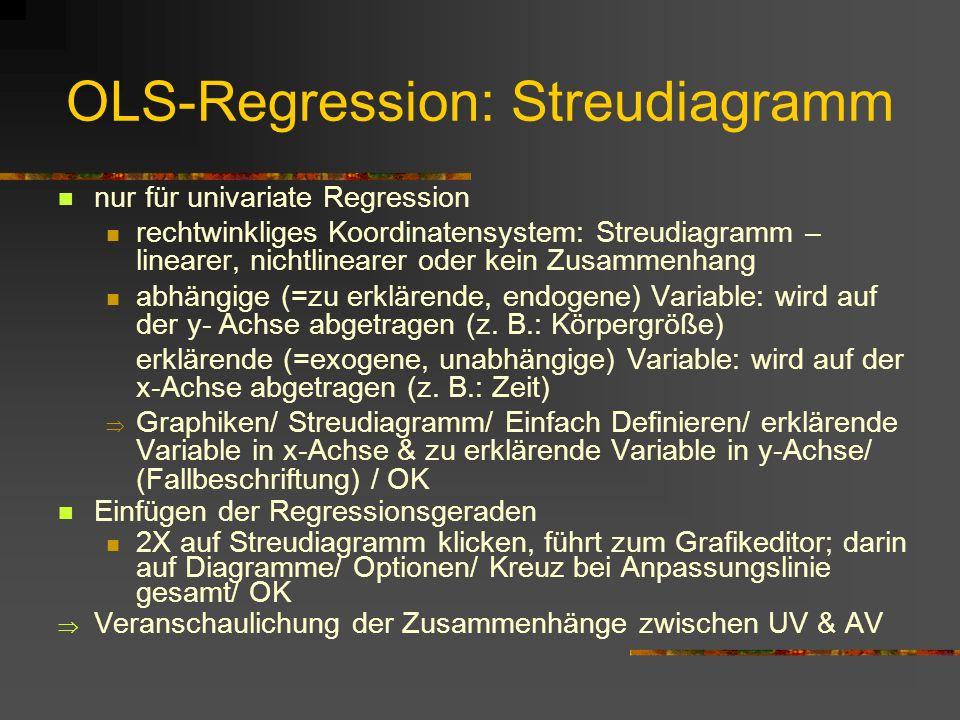 OLS-Regression: Streudiagramm nur für univariate Regression rechtwinkliges Koordinatensystem: Streudiagramm – linearer, nichtlinearer oder kein Zusamm