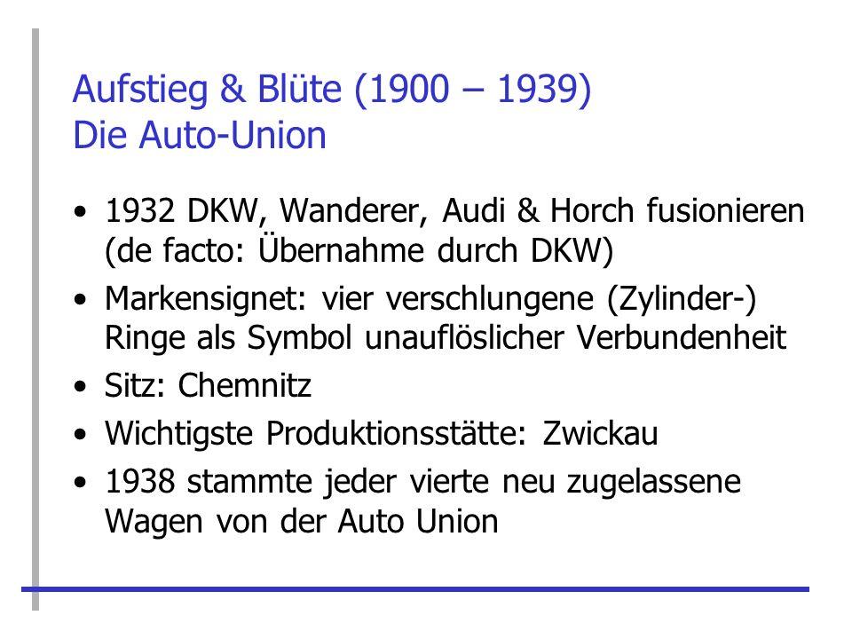Aufstieg & Blüte (1900 – 1939) Die Auto-Union 1932 DKW, Wanderer, Audi & Horch fusionieren (de facto: Übernahme durch DKW) Markensignet: vier verschlu