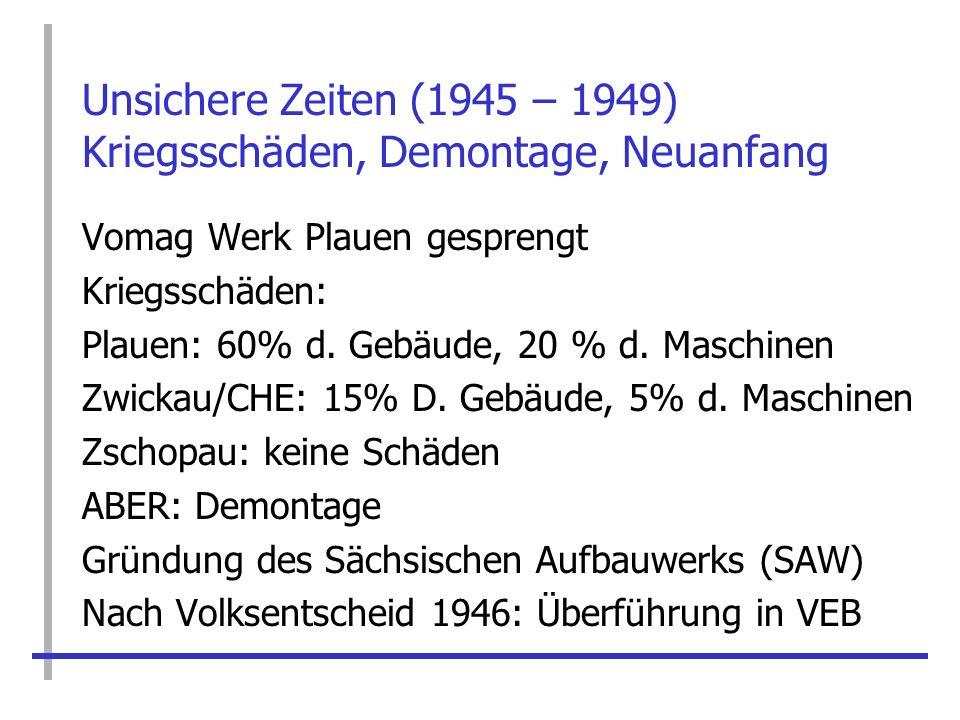 Unsichere Zeiten (1945 – 1949) Kriegsschäden, Demontage, Neuanfang Vomag Werk Plauen gesprengt Kriegsschäden: Plauen: 60% d. Gebäude, 20 % d. Maschine