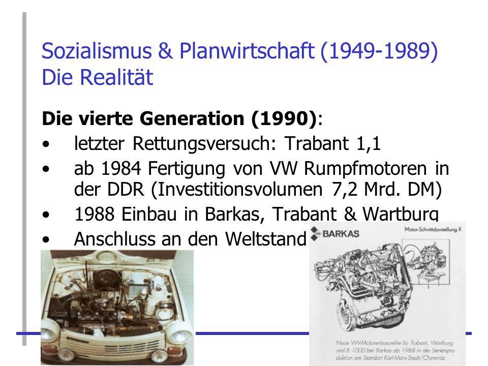 Sozialismus & Planwirtschaft (1949-1989) Die Realität Die vierte Generation (1990): letzter Rettungsversuch: Trabant 1,1 ab 1984 Fertigung von VW Rump