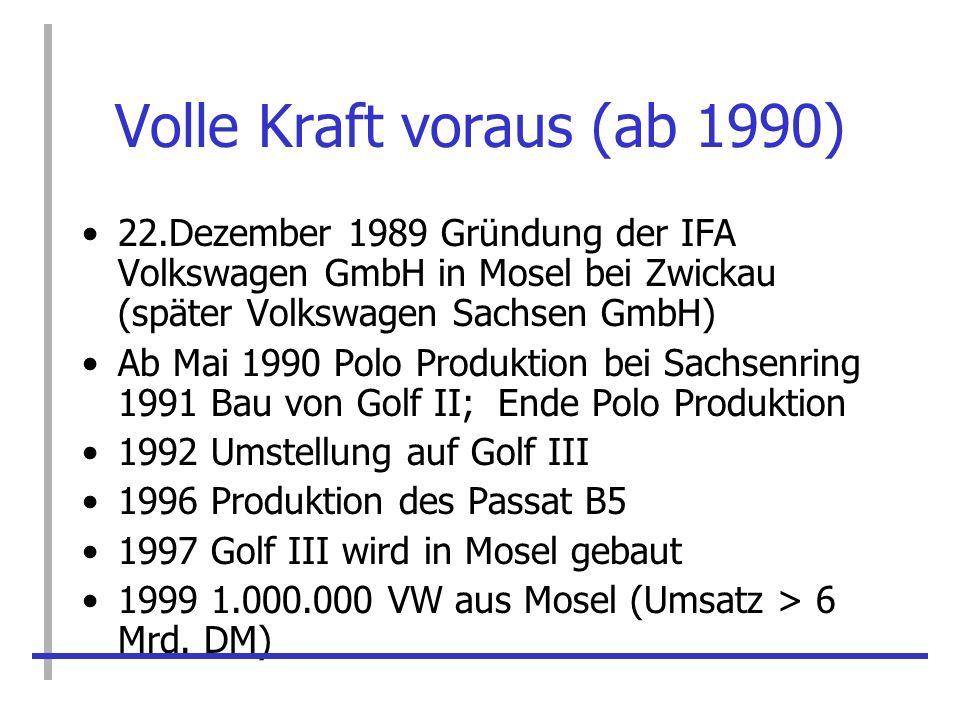 Volle Kraft voraus (ab 1990) 22.Dezember 1989 Gründung der IFA Volkswagen GmbH in Mosel bei Zwickau (später Volkswagen Sachsen GmbH) Ab Mai 1990 Polo
