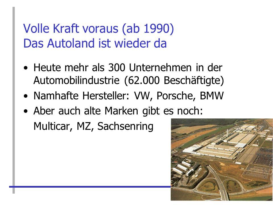 Volle Kraft voraus (ab 1990) Das Autoland ist wieder da Heute mehr als 300 Unternehmen in der Automobilindustrie (62.000 Beschäftigte) Namhafte Herste