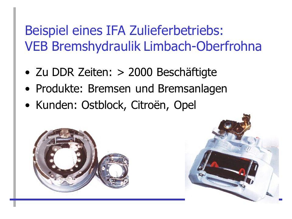 Beispiel eines IFA Zulieferbetriebs: VEB Bremshydraulik Limbach-Oberfrohna Zu DDR Zeiten: > 2000 Beschäftigte Produkte: Bremsen und Bremsanlagen Kunde