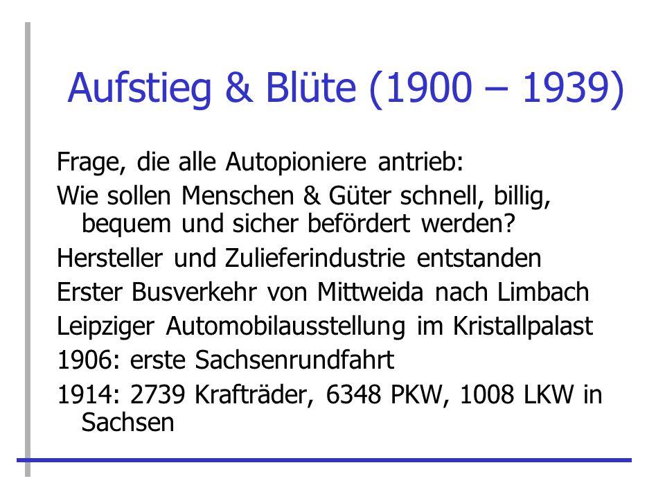 Schwere Zeiten (1939 – 1945) 1936 Kontingentierung von Reifen Gründe: Aufrüstung und Devisenmangel 1939 Benzin nur noch auf Bezugsschein Schell Plan: Fahrzeugtypenbeschränkung 1940 Kriegsproduktion: 70.000 Kübelwagen im Raum Chemnitz hergestellt.