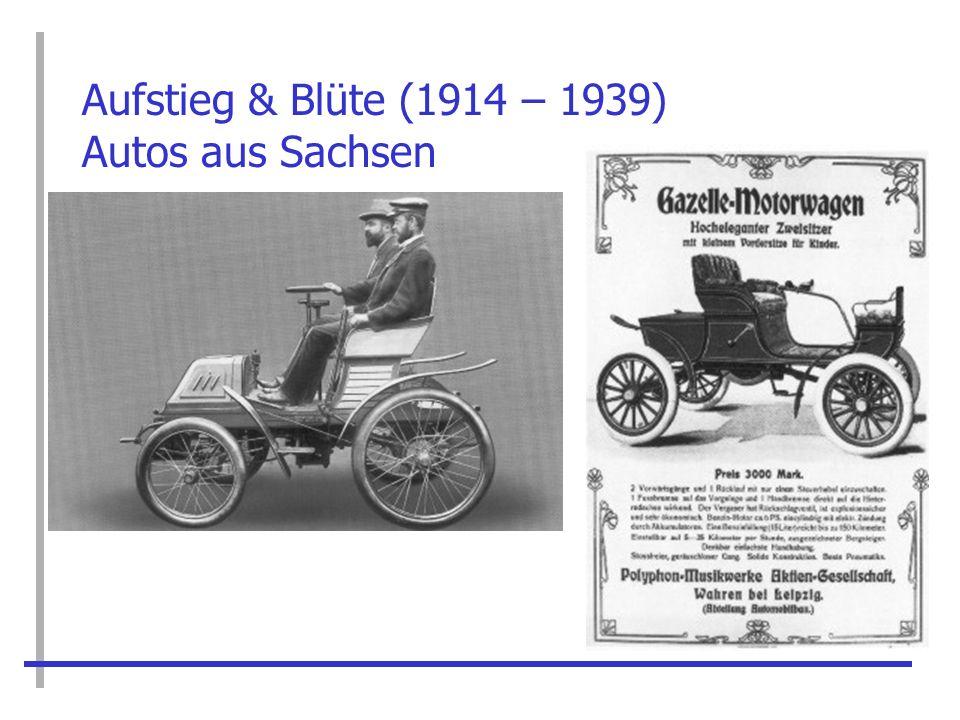 Aufstieg & Blüte (1900 – 1939) Horch gibt nicht auf: Die Audi Werke 1909 durch Horch ebenfalls in Zwickau gegründet Audi = lat.