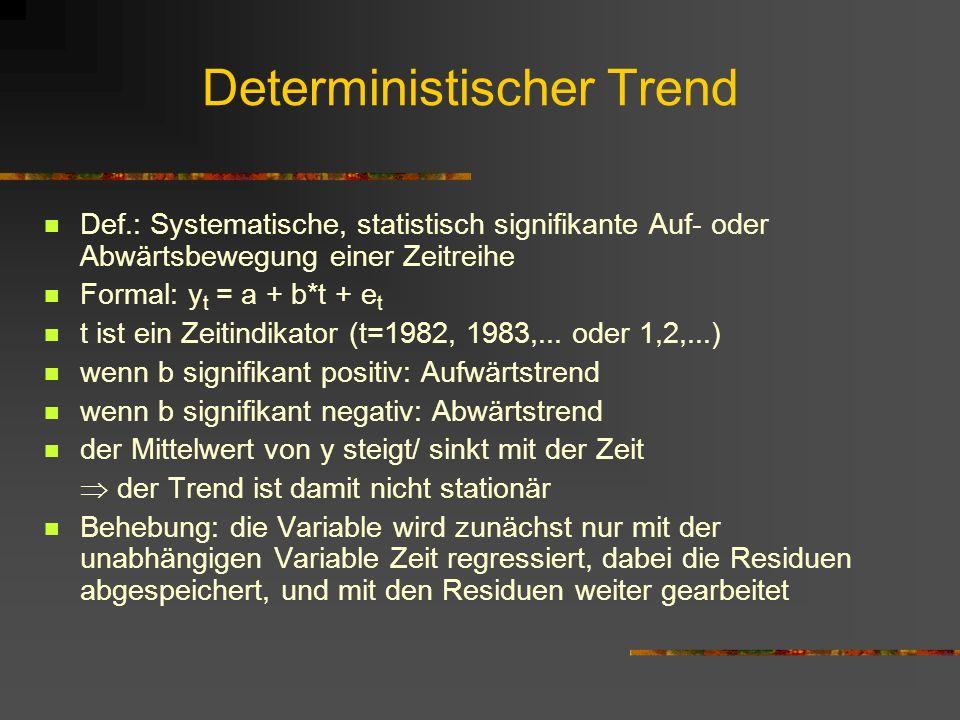 Deterministischer Trend Def.: Systematische, statistisch signifikante Auf- oder Abwärtsbewegung einer Zeitreihe Formal: y t = a + b*t + e t t ist ein