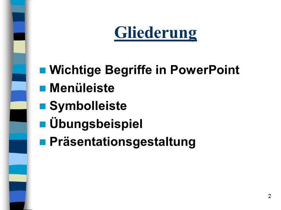 2 Gliederung Wichtige Begriffe in PowerPoint Menüleiste Symbolleiste Übungsbeispiel Präsentationsgestaltung