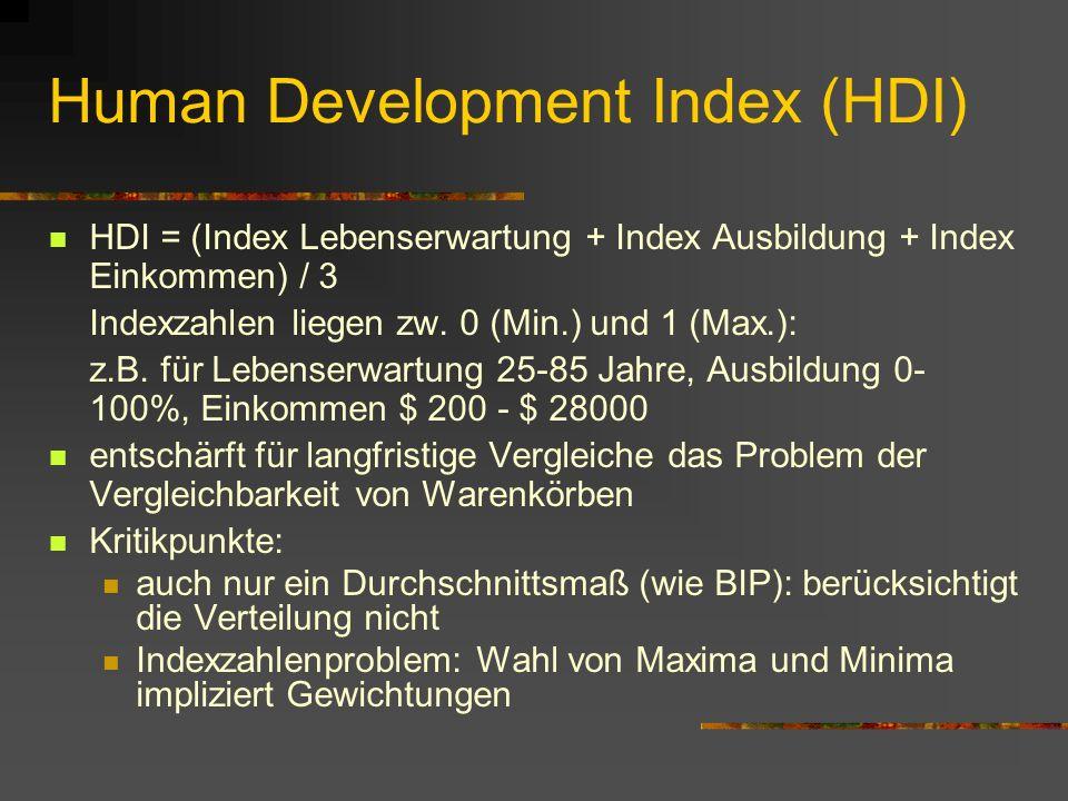 Messung des Lebensstandards II zudem: konventionelle Statistiken ohne Information zu zu geschlechtsspezifischen Unterschieden im Lebensstandard allgem