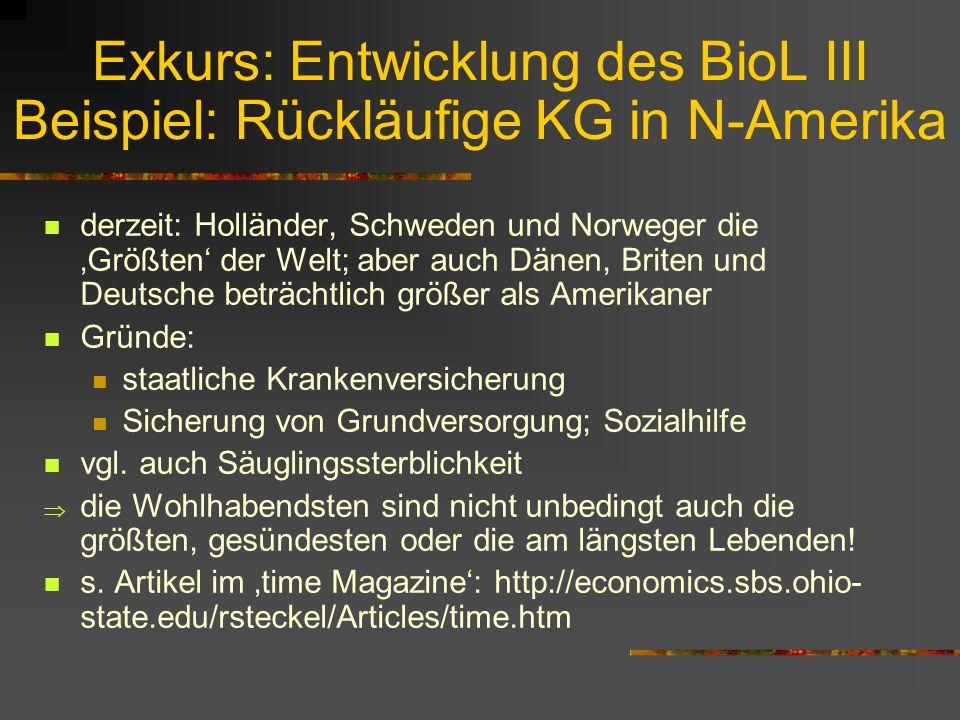 Exkurs: Entwicklung des BioL II Beispiel: Rückläufige KG in N-Amerika nach WWII: endgültiger Verlust des amerikan. Vorsprung gegenüber W- und N-Europa