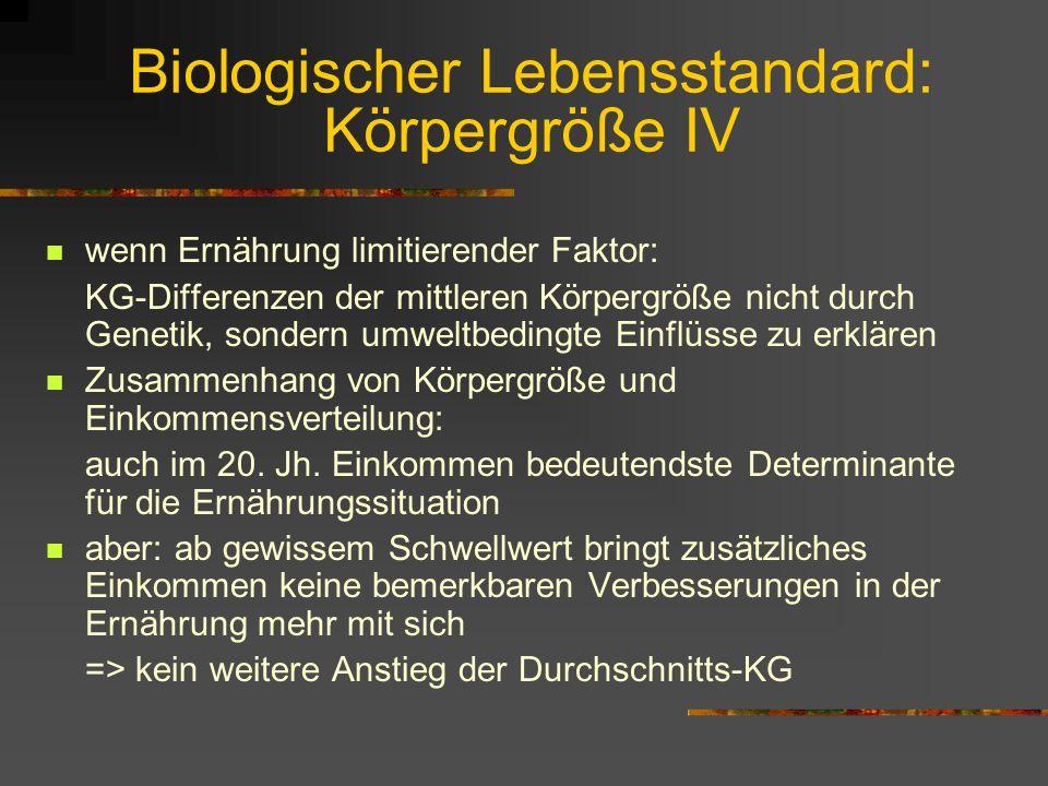 Exkurs: Entwicklung des BioL III Beispiel: Rückläufige KG in N-Amerika derzeit: Holländer, Schweden und Norweger die Größten der Welt; aber auch Dänen
