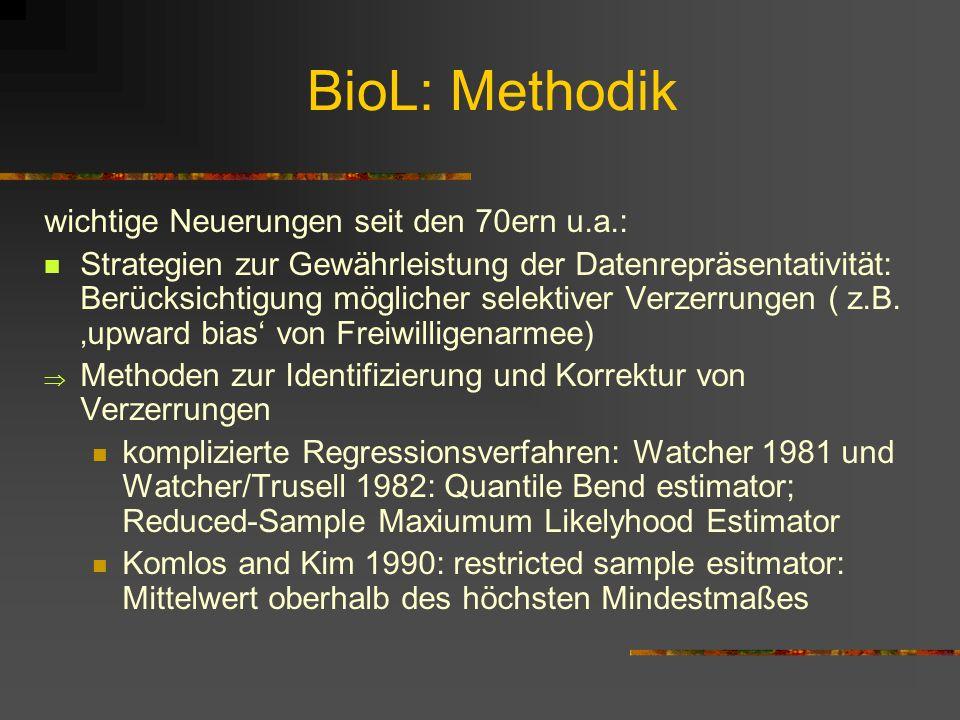 Forschungsgeschichte des BioL II seit Mitte der 1980er: Studien internationaler ausgerichtet (Konzentration nicht mehr nur auf Nordamerika) Verwendung