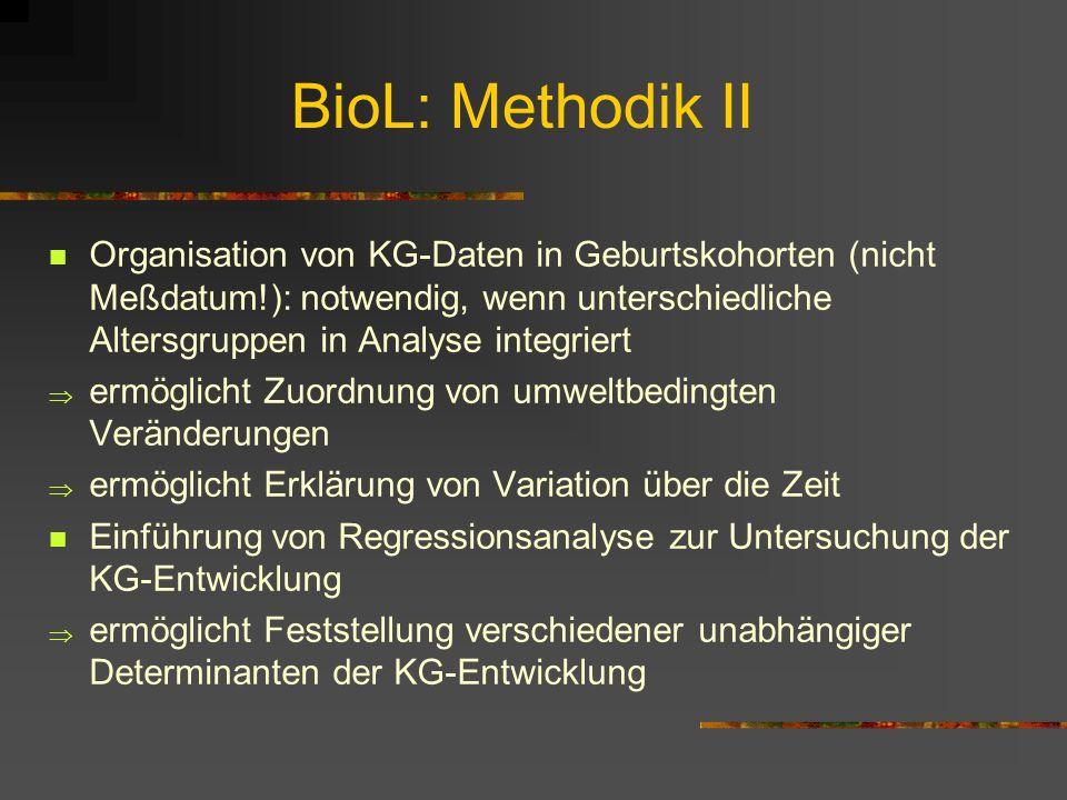 BioL: Methodik wichtige Neuerungen seit den 70ern u.a.: Strategien zur Gewährleistung der Datenrepräsentativität: Berücksichtigung möglicher selektive
