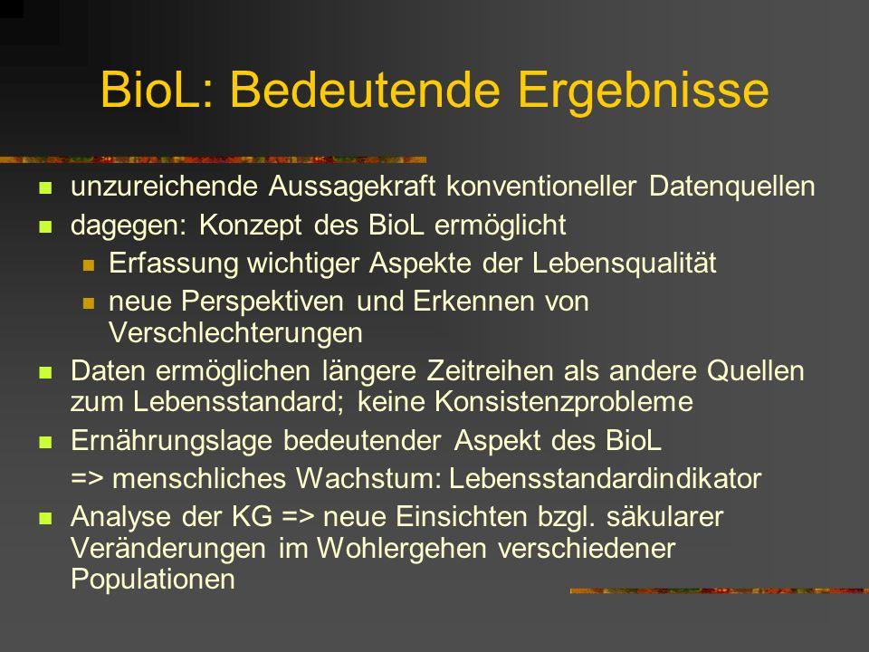 BioL: Methodik II Organisation von KG-Daten in Geburtskohorten (nicht Meßdatum!): notwendig, wenn unterschiedliche Altersgruppen in Analyse integriert