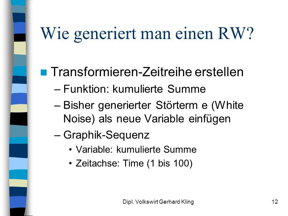 Dipl. Volkswirt Gerhard Kling12 Wie generiert man einen RW? Transformieren-Zeitreihe erstellen –Funktion: kumulierte Summe –Bisher generierter Störter