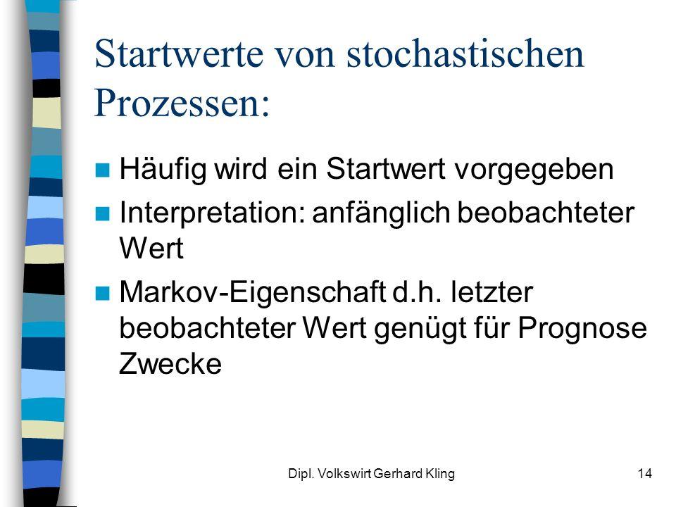 Dipl. Volkswirt Gerhard Kling14 Startwerte von stochastischen Prozessen: Häufig wird ein Startwert vorgegeben Interpretation: anfänglich beobachteter