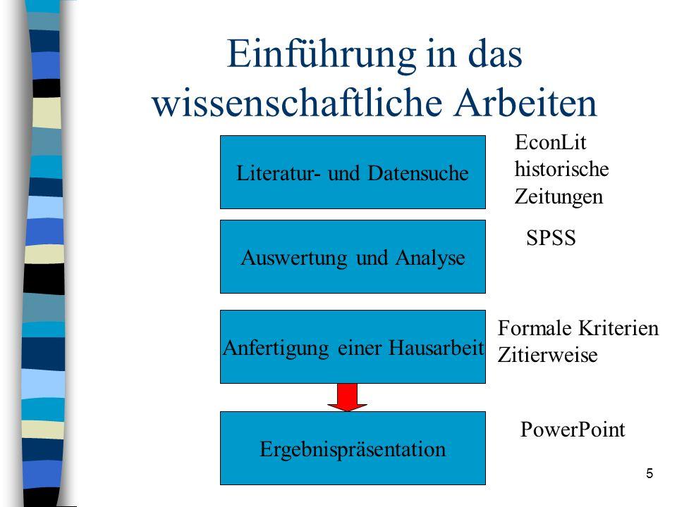 Dipl. Volkswirt Gerhard Kling5 Einführung in das wissenschaftliche Arbeiten Literatur- und Datensuche Auswertung und Analyse Anfertigung einer Hausarb
