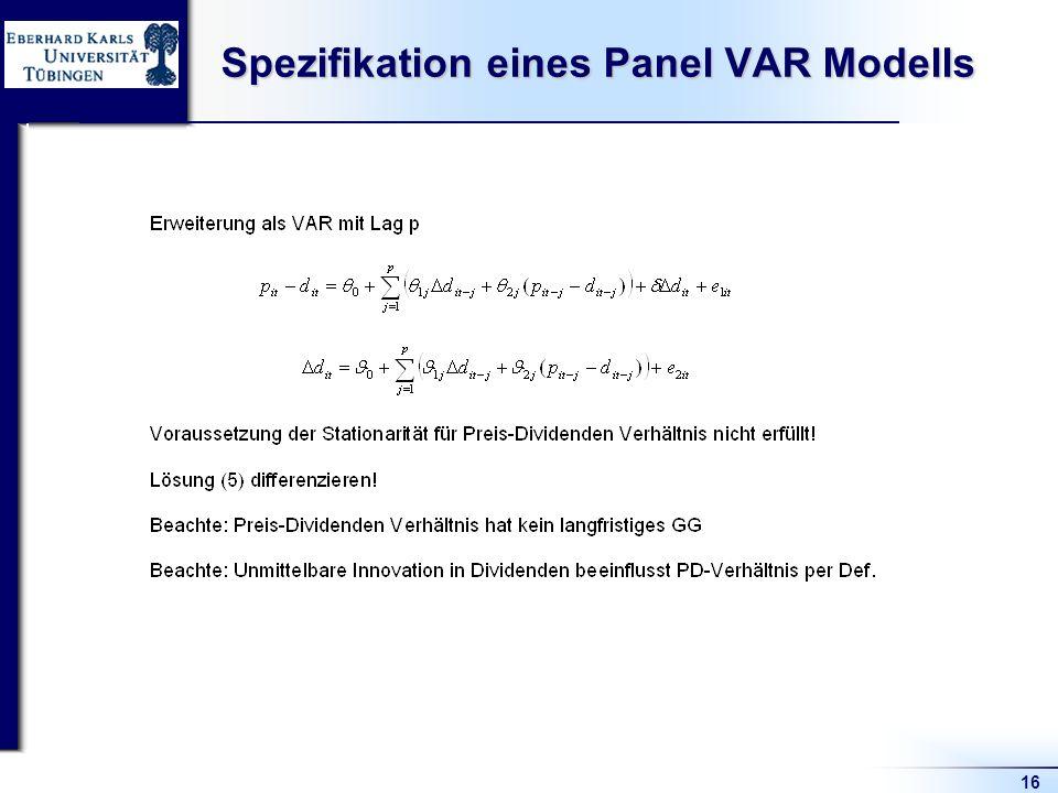 16 Spezifikation eines Panel VAR Modells