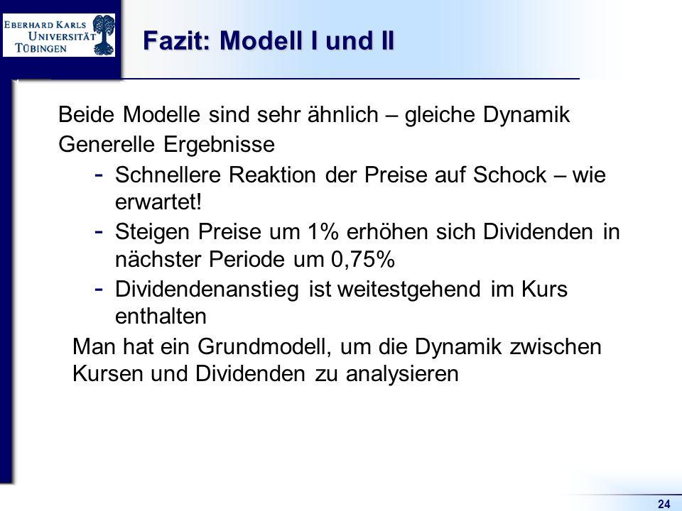 24 Fazit: Modell I und II Beide Modelle sind sehr ähnlich – gleiche Dynamik Generelle Ergebnisse  Schnellere Reaktion der Preise auf Schock – wie erwartet.