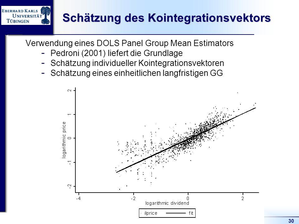 30 Schätzung des Kointegrationsvektors Verwendung eines DOLS Panel Group Mean Estimators  Pedroni (2001) liefert die Grundlage  Schätzung individueller Kointegrationsvektoren  Schätzung eines einheitlichen langfristigen GG