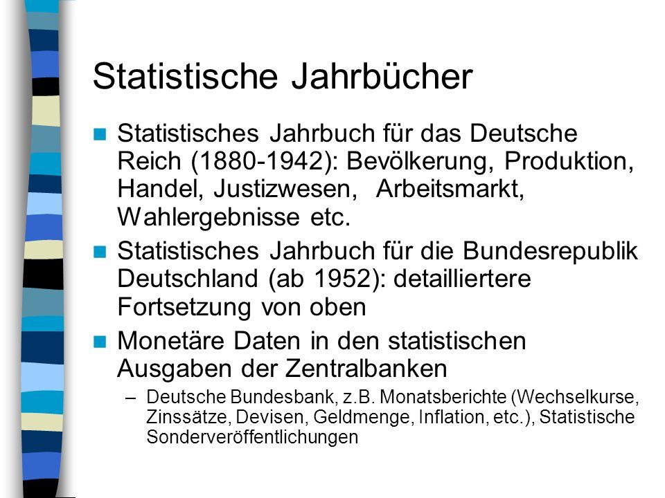 Statistische Jahrbücher Statistisches Jahrbuch für das Deutsche Reich (1880-1942): Bevölkerung, Produktion, Handel, Justizwesen, Arbeitsmarkt, Wahlerg