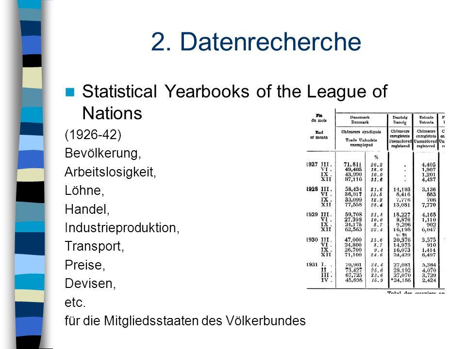 2. Datenrecherche Statistical Yearbooks of the League of Nations (1926-42) Bevölkerung, Arbeitslosigkeit, Löhne, Handel, Industrieproduktion, Transpor