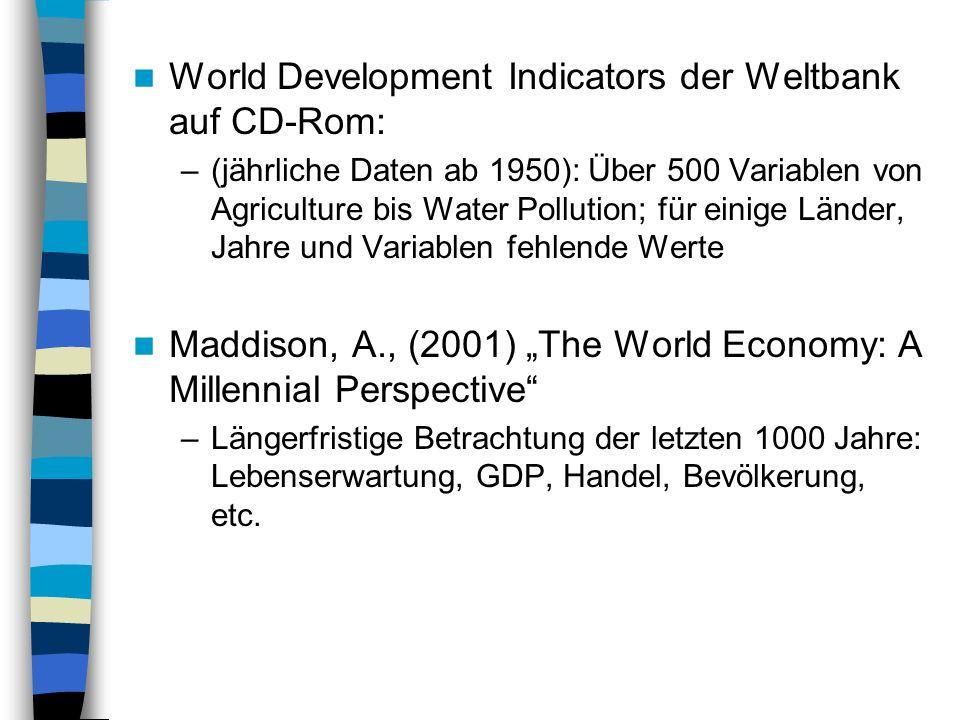 World Development Indicators der Weltbank auf CD-Rom: –(jährliche Daten ab 1950): Über 500 Variablen von Agriculture bis Water Pollution; für einige L