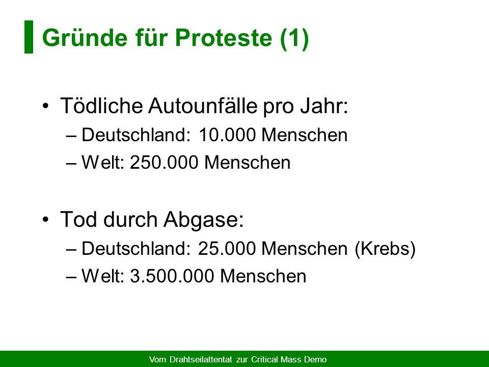 Vom Drahtseilattentat zur Critical Mass Demo Folgen... Urteil Landgericht München, 1994 Der Angeklagte Hartmann M. (...) wird wegen gefährlichen Eingr