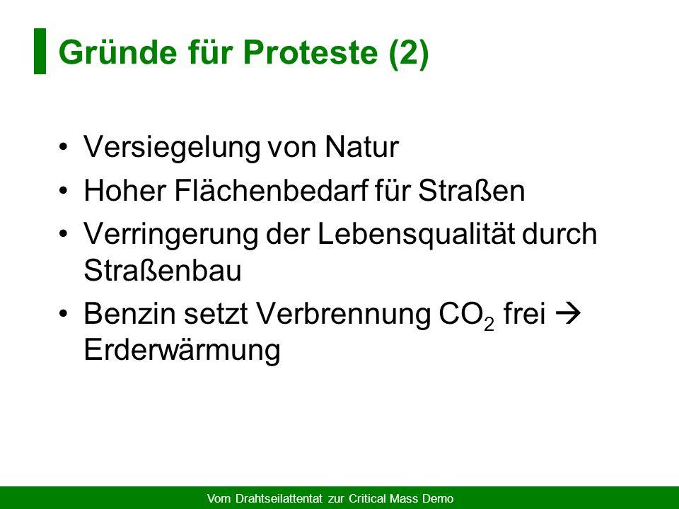 Vom Drahtseilattentat zur Critical Mass Demo Gründe für Proteste (1) Tödliche Autounfälle pro Jahr: –Deutschland: 10.000 Menschen –Welt: 250.000 Mensc