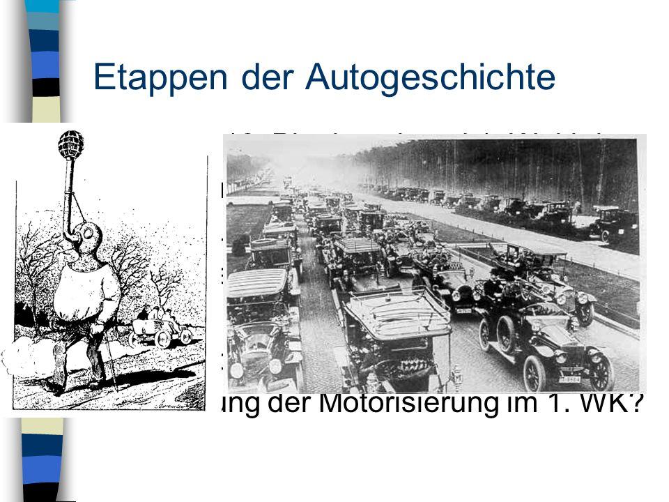 Etappen der Autogeschichte 1886 – 1918: Pionierzeit und 1. Weltkrieg - handwerkliche Fertigung - Spielzeug der Reichen - Konflikte durch neues Verkehr