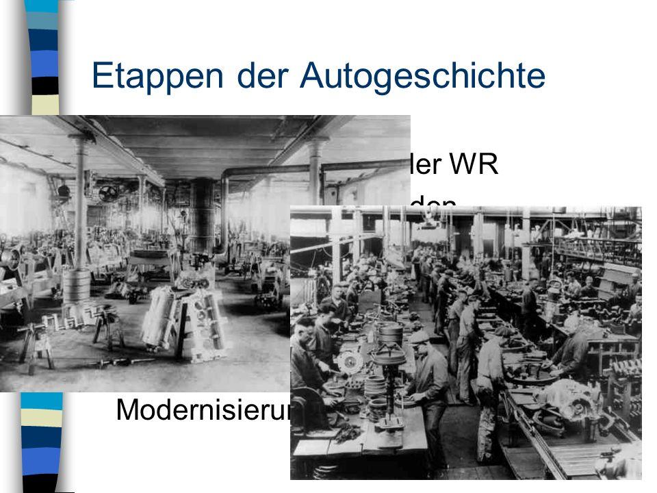 Etappen der Autogeschichte 1919-1932: Diffusion in der WR - neue Fertigungsmethoden - Massenproduktion - Internationalisierung - Motorräder und Kleinw