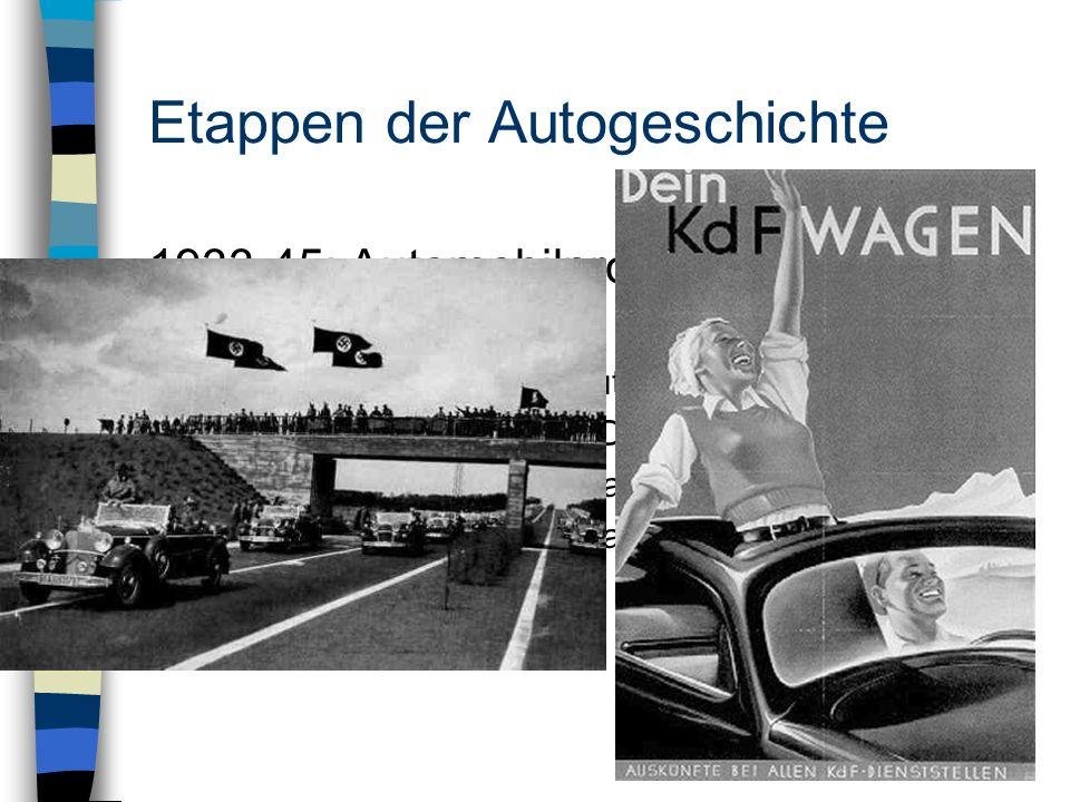 Etappen der Autogeschichte 1933-45: Automobilpropaganda und Kriegsrüstung -Steuerbefreiung und Autobahnbauprogramm 1933 -Organisation Todt / RAD -Spar