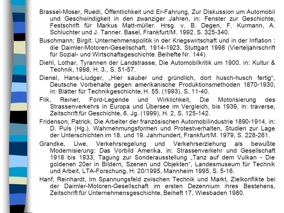 Brassel-Moser, Ruedi, Öffentlichkeit und Er-Fahrung, Zur Diskussion um Automobil und Geschwindigkeit in den zwanziger Jahren, in: Fenster zur Geschich