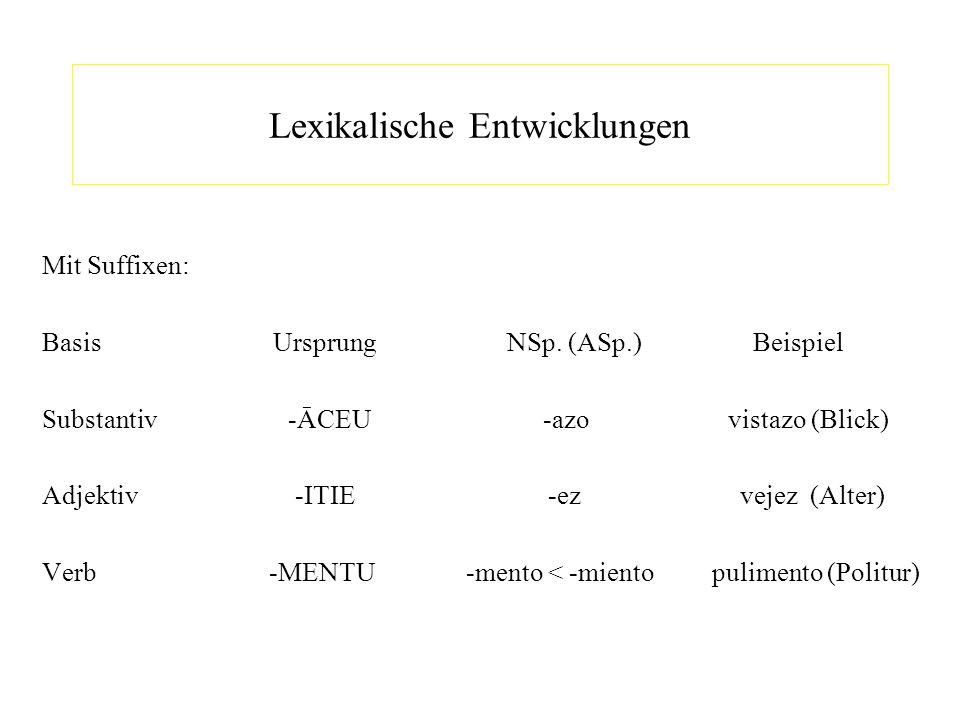 Lexikalische Entwicklungen Mit Suffixen: Basis Ursprung NSp. (ASp.) Beispiel Substantiv -ĀCEU -azo vistazo (Blick) Adjektiv -ITIE -ez vejez (Alter) Ve