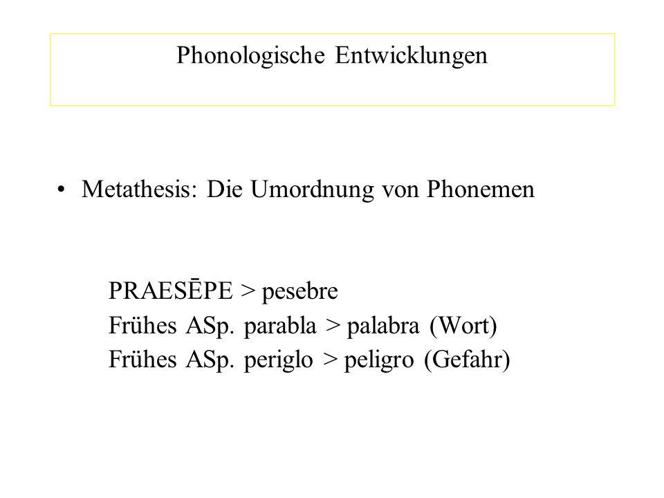 Phonologische Entwicklungen Metathesis: Die Umordnung von Phonemen PRAESĒPE > pesebre Frühes ASp. parabla > palabra (Wort) Frühes ASp. periglo > pelig