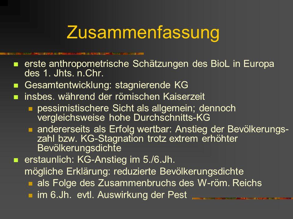 Exkurs II: Langzeit-Vergleich Mittlere KG in römischer Zeit und im 19.Jh. Durchschnitts-KG der provinzial-römischen Bevöl- kerung im bayerischen Raum