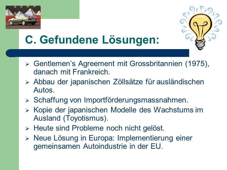 C. Gefundene Lösungen: Gentlemens Agreement mit Grossbritannien (1975), danach mit Frankreich. Abbau der japanischen Zöllsätze für ausländischen Autos